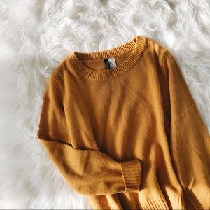 Basic mustard crew knit sweater